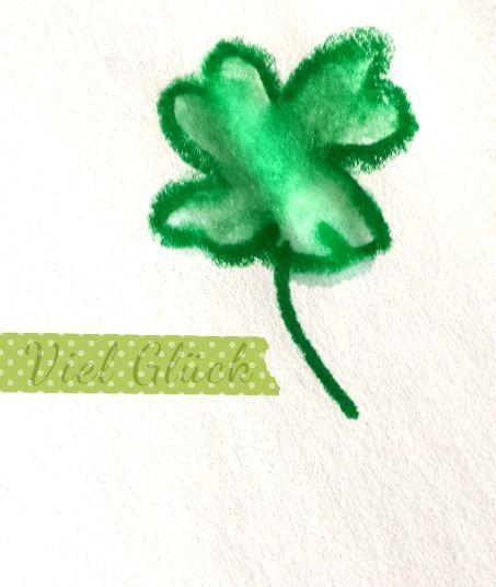 ein selbstgemaltes 4 Blättriges Kleeblatt